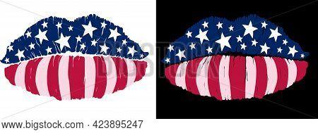 Sensual Female Lips Painted Like Usa Flag Isolated On White And Black Background