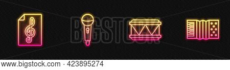 Set Line Drum, Treble Clef, Microphone And Accordion. Glowing Neon Icon. Vector