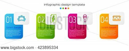 Set Line Tambourine, Treble Clef, Maracas And Drum. Business Infographic Template. Vector