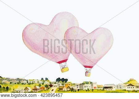 Red Pink Heart Hot Air Balloon Is Placed On The Village And White Background, Watercolor Painting De