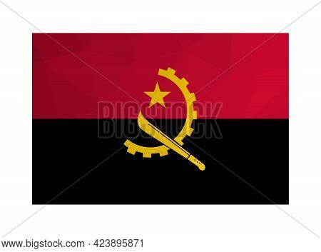 Vector Isolated Illustration. National Angolan Flag With Bands Of Red, Black And Yellow Half Gear Wh