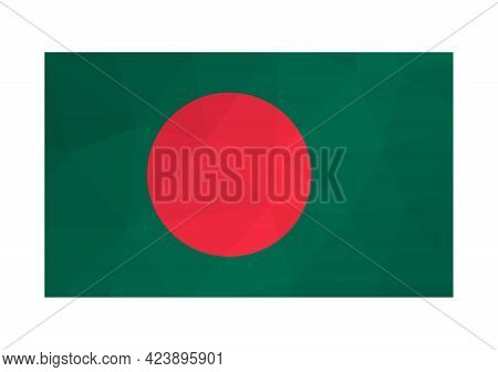Vector Isolated Illustration. National Bangladeshi Flag With Red Dot, Green Background. Official Sym