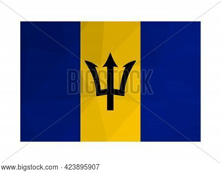 Vector Isolated Illustration. National Barbadian Flag With Black Trident Head, Blue And Yellow Strip