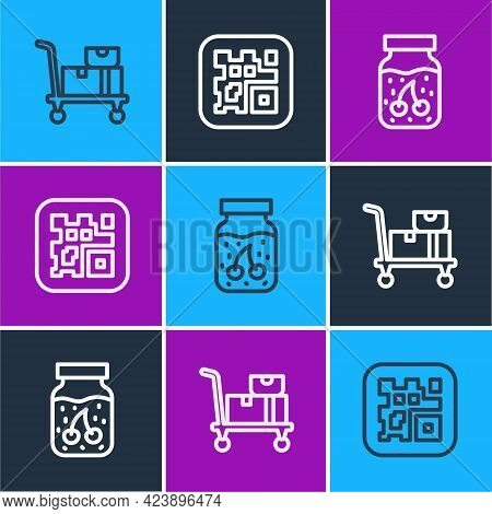 Set Line Hand Truck And Boxes, Jam Jar And Qr Code Icon. Vector