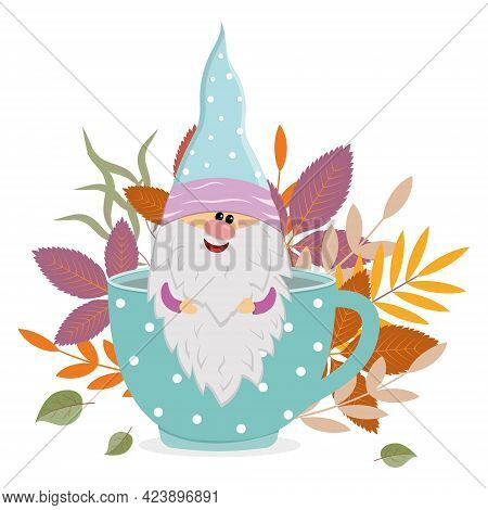 A Cheerful Dwarf Sits In A Mug With A Warm Drink On The Background Of Autumn Leaves, Vector Isolated