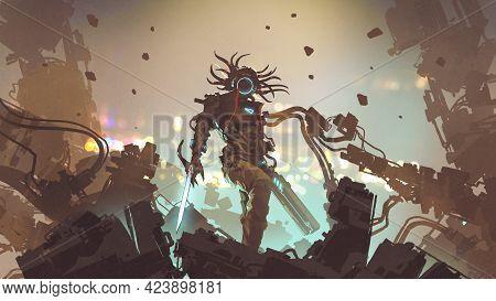 Futuristic Man With High-tech Weapons Standing On The Rubble, Digital Art Style, Illustration Painti