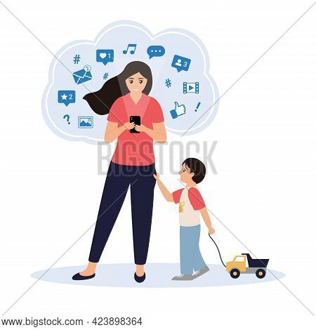 Young Woman Spends Too Much Time In Social Networks And Doesn't Pay Attention To Her Child. Little B