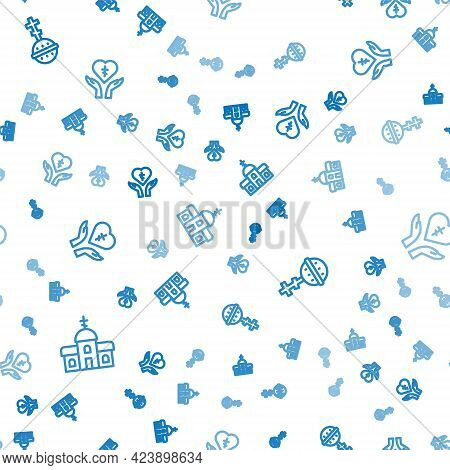 Set Line Church Building, Christian Cross And Religious Heart On Seamless Pattern. Vector