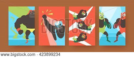 Set Of Contemporary Art Posters With Angry Mexican Fighters. Vector Illustration. .collection Of Fur