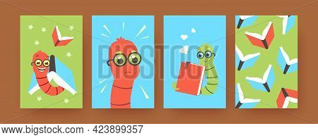 Set Of Contemporary Art Posters With Cute Worms Loving Books. Vector Illustration. .colorful Collect