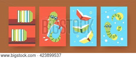 Set Of Contemporary Art Posters With Cute Worms And Books. Vector Illustration. .colorful Collection