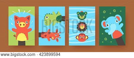 Set Of Contemporary Art Posters With Cute Hand Sock Puppets. Vector Illustration. .colorful Collecti