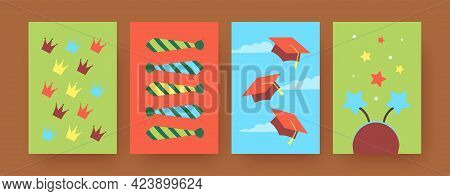 Set Of Contemporary Art Posters With Ceremony Accessories. Vector Illustration. .colorful Funny Crow