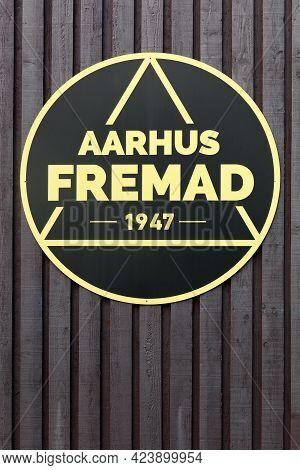 Aarhus, Denmark - April 24, 2021: Aarhus Fremad Logo On A Wooden Wall. Aarhus Fremad Is An Associati