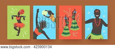 Set Of Contemporary Art Posters With African Tribal Dancers. Vector Illustration. .colorful Collecti