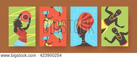 Set Of Contemporary Art Posters With African Tribal Dancing. Vector Illustration. .colorful Collecti