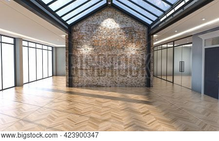 An Interior Of An Empty Office With Windows A Skylight And A Facebrick Feature Wall In The Daylight