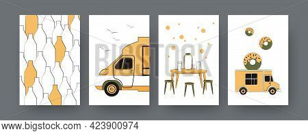 Set Of Contemporary Art Posters With Food Truck. Table With Drinks, Food Festival Cartoon Vector Ill
