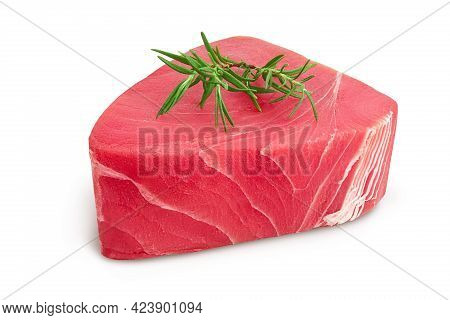Fresh Tuna Fish Fillet Steak With Rosemary Isolated On White Background With Clipping Path And Full