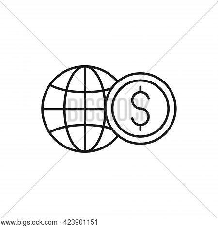 Coin with Globe icon. Coin icon. Coin Vector. Dollar Coin vector. Dollar Coin. Coin with Globe icon vector. Money coin icon. Dollar Coin Stack icon vector. Coin icon logo. Coin with Globe vector icon flat design for web, logo, sign, symbol, app