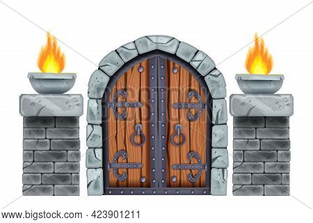 Castle Wooden Gate, Vector Medieval Dungeon Entrance, Stone Arch, Brick Pillars, Fire, Iron Handle.