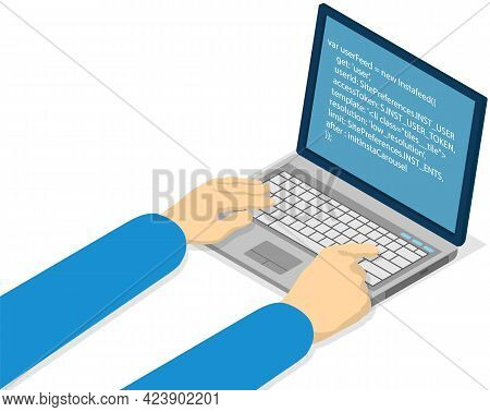 Person Is Working With Laptop Typing On Keyboard. Hands Of Young Programmer Coding New Project Using