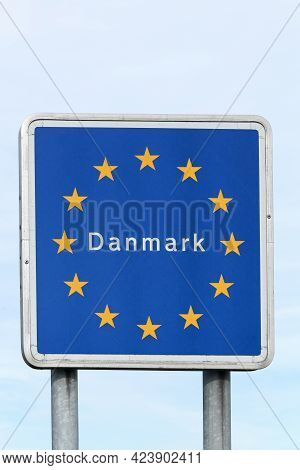 Border Road Sign And Entrance In Denmark