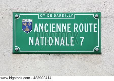 Dardilly, France - June 27, 2020: Signboard With Ancient Route Nationale 7 In France