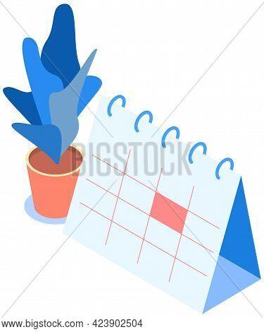 Calendar With Marked Date Vector Illustration. Time Management. Deadline, Planning. Planning Schedul