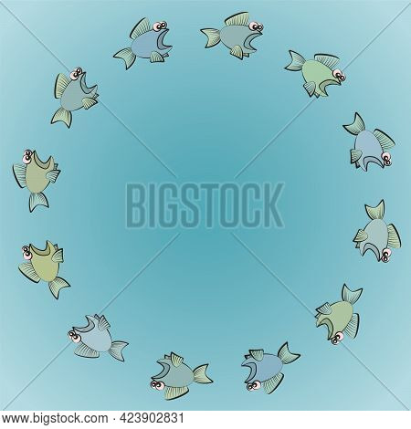 Fishes Swimming In Circles, One Follows The Other Scared, Rashly And Thoughtlessly. Symbol For Group