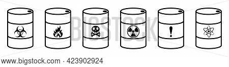 Barrel With Hazardous Substances. Vector Illustration. Hazardous Waste. Set Of Metal Barrels.