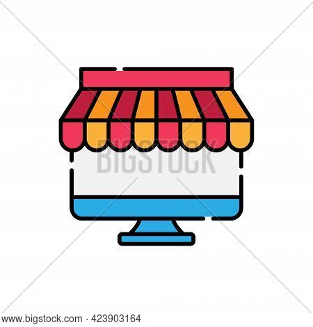 Online Store icon. Online Shopping Store icon. Store icon. Shopping Store vector. Store vector. Online Store icon vector. Store icon logo template. Store symbol. Store sign. Online Store vector icon design for website, logo, sign, symbol, app