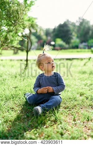 Child With A Ponytail Sits With An Open Mouth On A Green Lawn