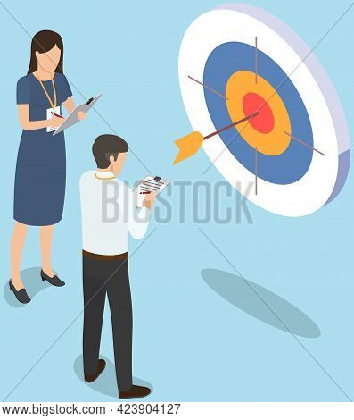 Business Team Stands Near Large Target. Businesspeople Looking At Target With Arrow In Middle As Sym