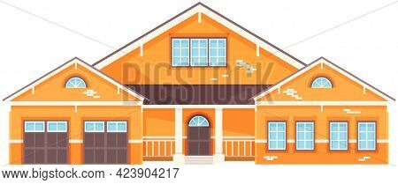 Yellow Residential Building, House With Garage. Architectural Structure Made Of Bricks And Covered W