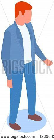 Man Stands Pensively And Loking At Something. Person In Business Suit Looks Ahead. Businessman Isola