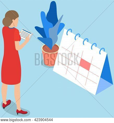 Task Planning, Businesswoman Looks At Calendar, Time Management, Month Planning Concept. Woman Makin