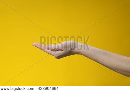 Female Hand Palm Up Gesture On Yellow Background. Gesture Of Asking Or Giving.