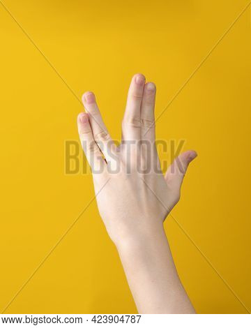 Vulcan Salute, Hand Gesture Of Welcome. Means Live Long And Prosper