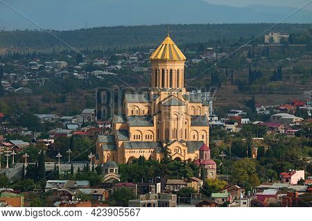Aerial View Of The Holy Trinity Cathedral Of Tbilisi, Also Known As Sameba, Historic Place In Tbilis