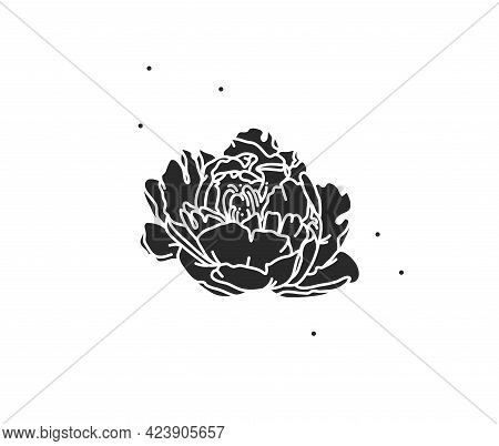 Hand Drawn Vector Abstract Stock Flat Graphic Illustration With Logo Element Of Line Flower Art, Bla