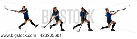 Floorball Female Player Isolated On White Studio Background. Action And Motion, Movement, Healthy Li
