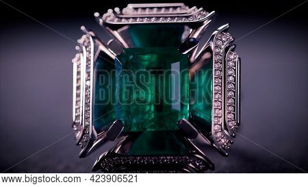 Close Up Of Breathtaking Platinum Cufflinks With Diamonds And Emeralds. Video. Beautiful Jewelry For