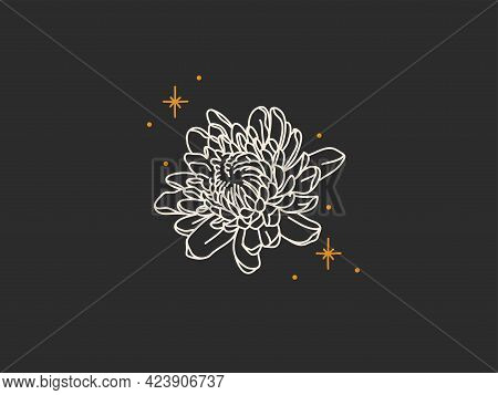 Hand Drawn Vector Abstract Stock Flat Graphic Illustration With Logo Elements, Magic Line Art Of Peo