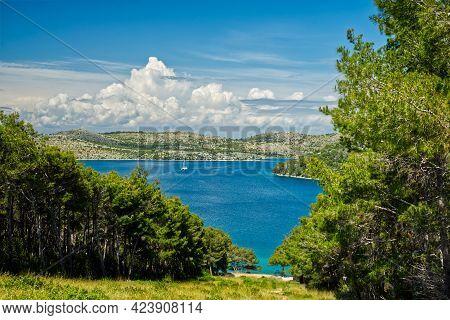 Kornati Islands National Park Telascica Bay Including Ship Archipelago Panoramic View, Landscape Of