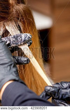 Closeup Back View Of Hairdressers Hands In Gloves Applying Dye To A Strand Of Hair Of Redhead Young