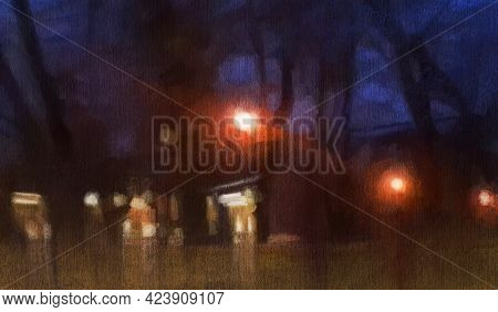 Abstract Impressionism. Landscape. Night City.  Modern Painting.  Hand-drawn Illustration.