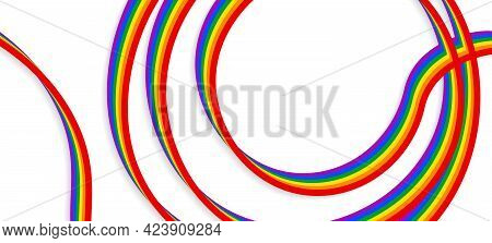 Lgbt Ribbon, Tape. Lgbt Banner. Template Design, Vector Illustration. Geometric Shapes In The Colors