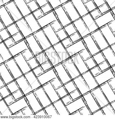 Abstract Vector Weave Irregular Grid Weave. Seamless Pattern Background. Black White Painterly Grung