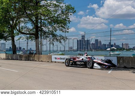 June 13, 2021 - Detroit, Michigan, USA: JOSEF NEWGARDEN (2) of the United States races through the turns during the  race for the Chevrolet Detroit Grand Prix at Belle Isle in Detroit, Michigan.